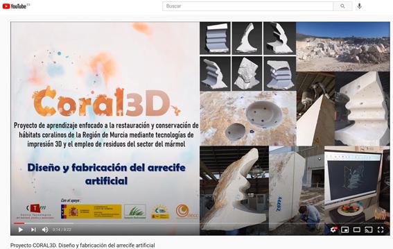 El CTMarmol publica el tercer vídeo sobre CORAL3D en el canal YouTube del proyecto